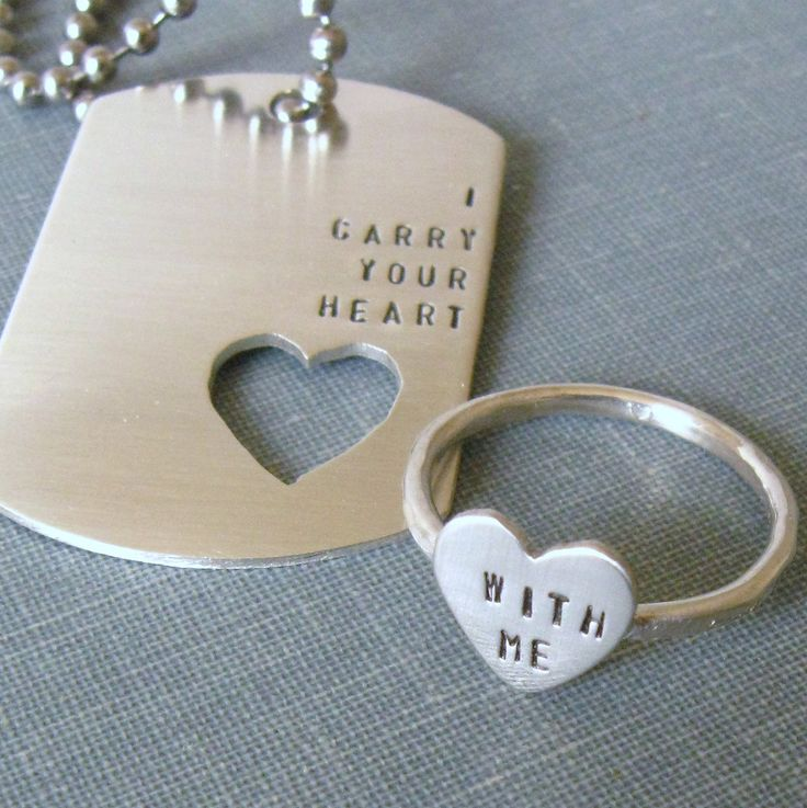 Carry Your Heart dog tag and ring set. Cute for military couples.