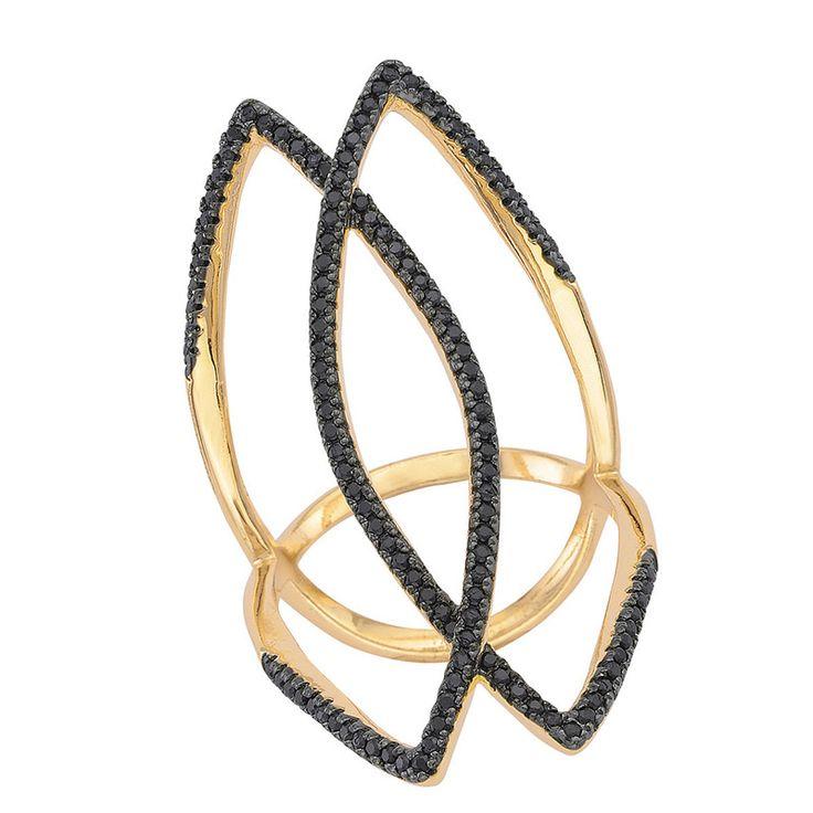 Ασημένιο Δαχτυλίδι SENZA Gold Black Crystals