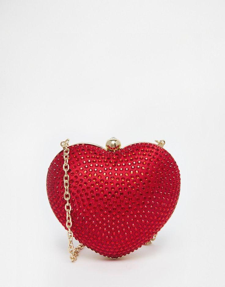 Image 1 ofLove Moschino Satin Embellished Heart Bag