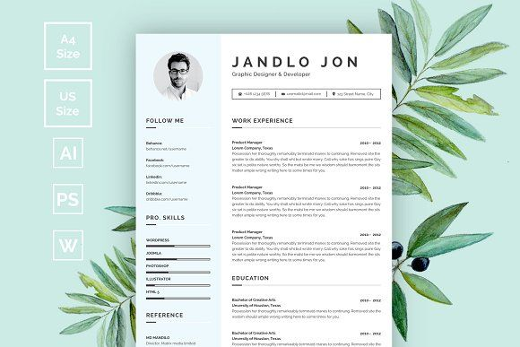 Resume/CV by@Graphicsauthor Resume CV Templates Pinterest - professional reference