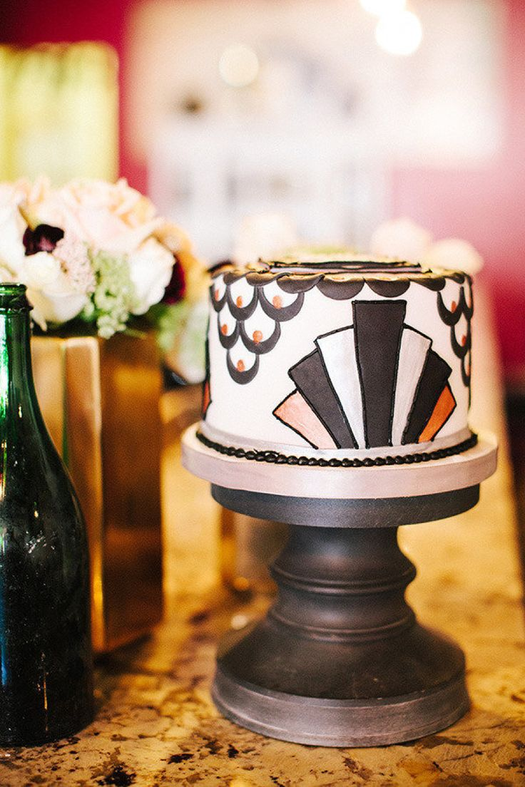 Art Deco mini cake perfection. Photography by katiestoops.com  Read more - http://www.stylemepretty.com/2013/07/16/great-gatsby-birthday-party-get-the-look/