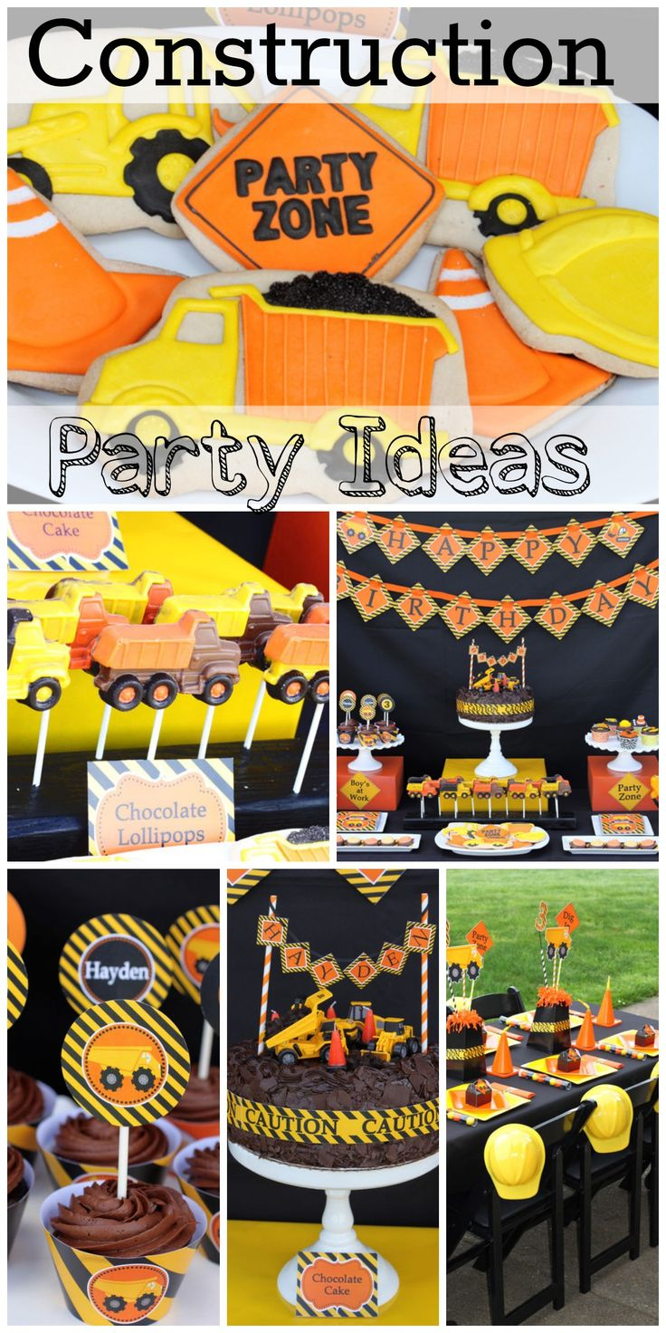 Awesome construction birthday party ideas, including the birthday cake, decorations, and more! See more party ideas at CatchMyParty.com.