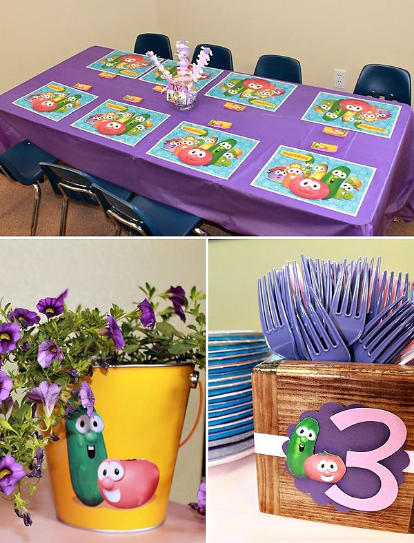 Pink & Purple Veggie Tales Theme Party