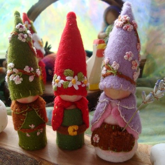 Trio of Spring Gnomes Reserved for CutlersChico Waldorf inspired Storytelling Faerie Elf Natural Dollhouse Doll