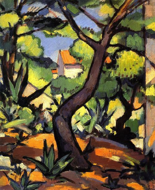 Samuel John Peploe (Scottish, 1871-1935), Landscape at Cassis, oil/canvas, 1924. Peploe's use of rich, bright colours suggests the baking heat and strong sunlight of the South of France. The composition echoes the work of Cézanne. The elements of the painting are meshed together like a tapestry using short, even brushstrokes. The balance of colours and repetition of the spiky, succulent plants is used to great decorative effect.