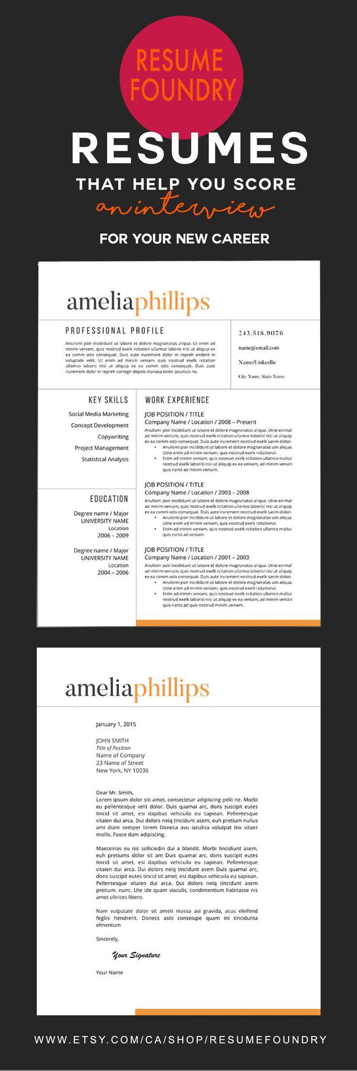 1000 images about biodata for marriage samples on pinterest - A Professional Resume Template With A Zing Of Color To Catch The Recruiters Eye Only
