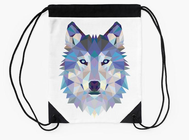 Game Of Thrones Polygonal Dire Wolf | RedBubble Black and White Drawstring Bag Flat Available @redbubble