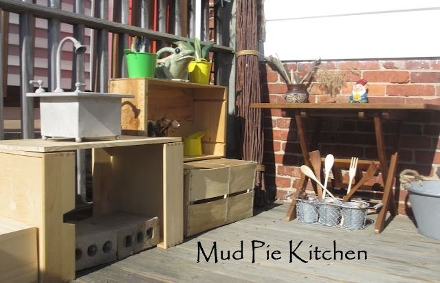 An outdoor play kitchen for making mud pies, imagination tea, magical muffins.... perhaps some prickly ball soup.  We made this from things we had around the house too!