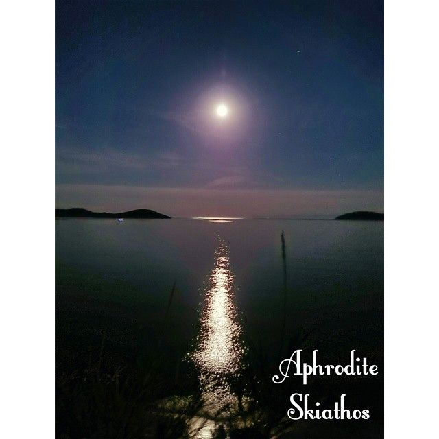June Full Moon Over Skiathos Island in Greece as seen from the balconies of Aphrodite Studios at Megali Ammos Beach  http://www.aphrodite-studios.gr/