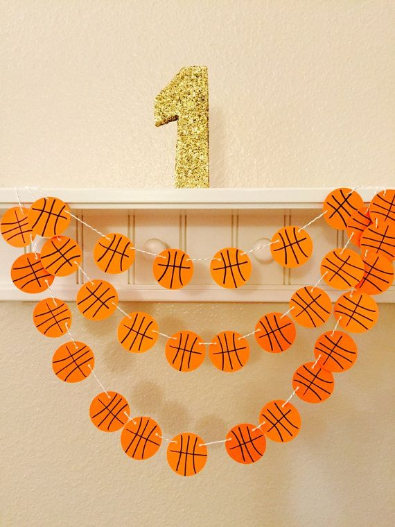 Instead of a traditional pennant/bunting banner, why not a basketball themed one to decorate the locker room during basketball season and get your team excited!