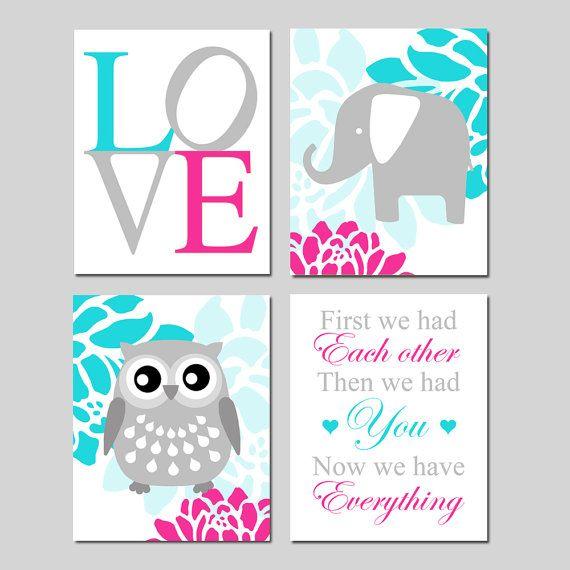 Pink Aqua Nursery Art Floral Baby Elephant Owl Love by Tessyla