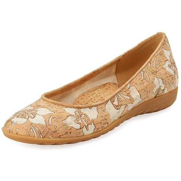 Sesto Meucci Bailor Floral Ballerina Flat ($195) ❤ liked on Polyvore featuring shoes, flats, panna gold, ballet pumps, floral ballet flats, beige ballet flats, flat pumps and slip on flats