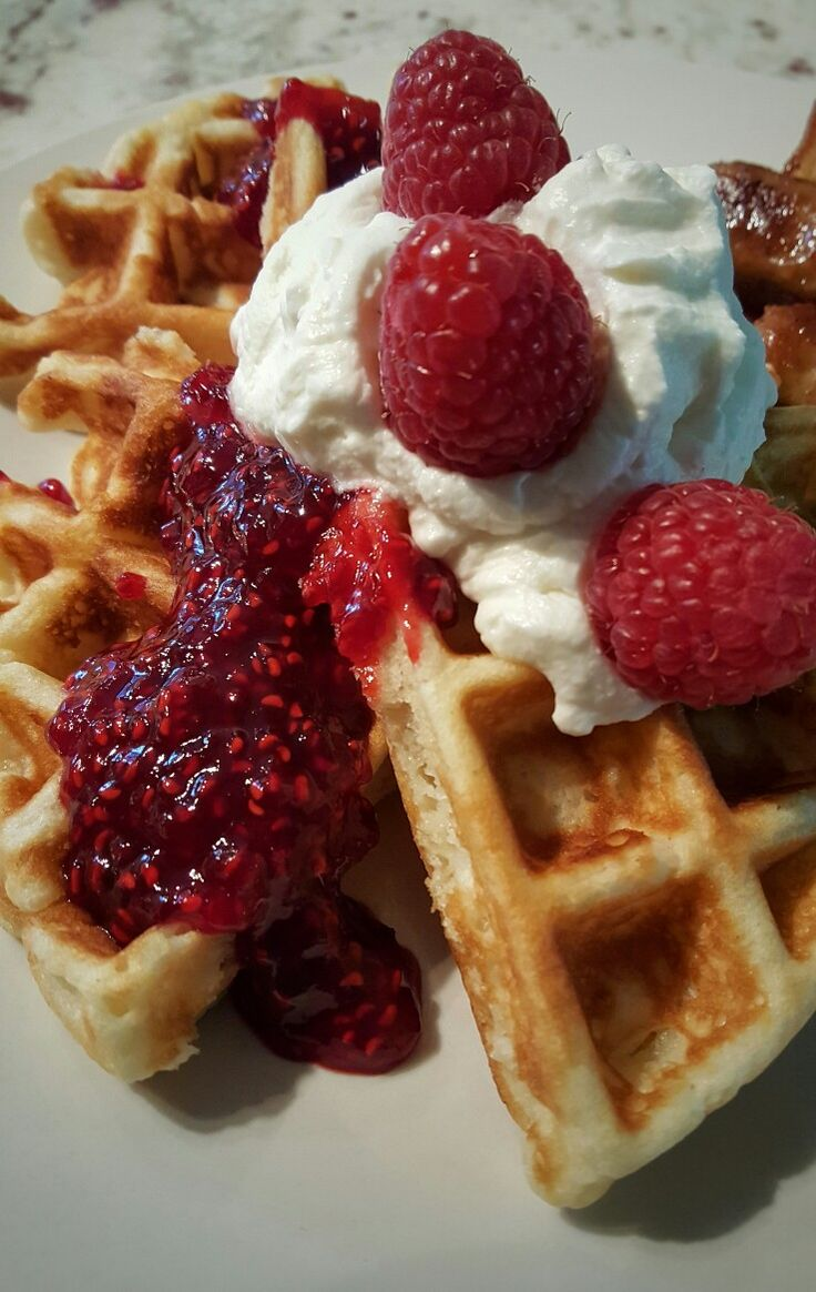 Raspberry and Whipped Cream Waffles