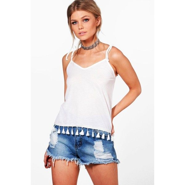 Boohoo Petite Hayley Tassle Trim Cheesecloth Cami Top ($10) ❤ liked on Polyvore featuring tops, cami top, camisole tank top, white camisole, camisole tank and petite tank tops