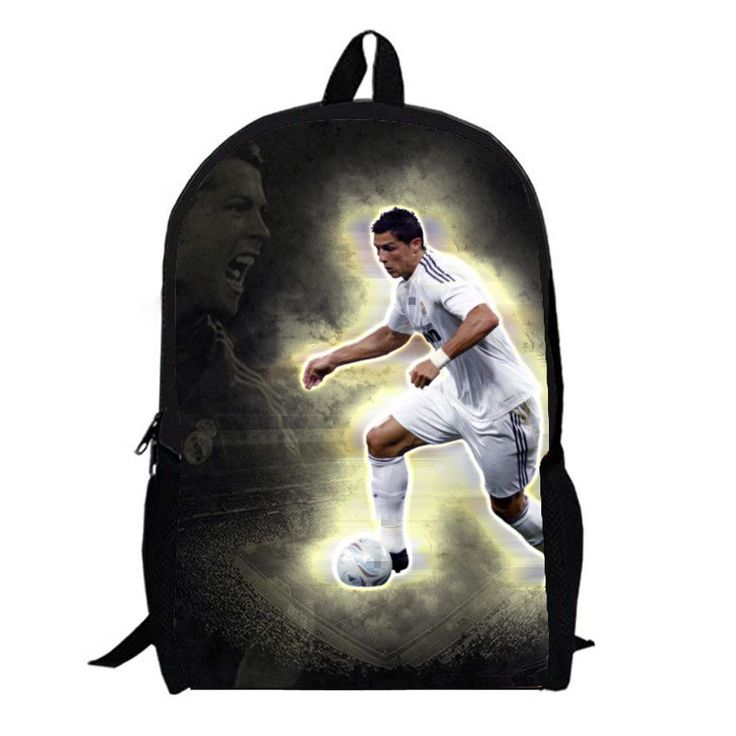 Hot 3D printing football star cristiano ronaldo backpack student leisure men travel bags school backpack for boys free shipping