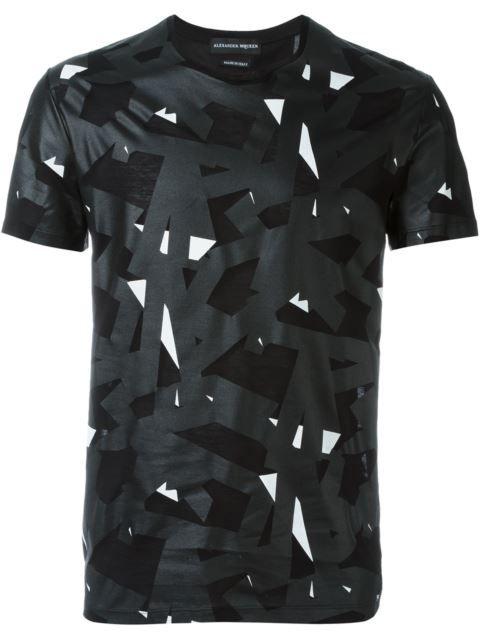 ALEXANDER MCQUEEN Geometric Print T-Shirt. #alexandermcqueen #cloth #t-shirt