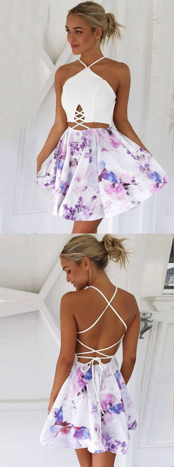 floral homecoming dresses,short dresses,summer dress,homecoming dresses short