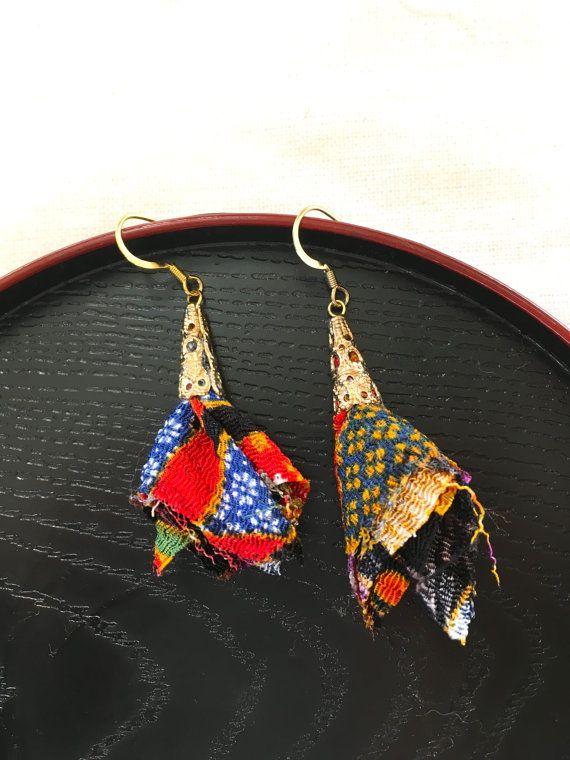 Chirimen Tassel Earring Temari & Flower Design by UkiYuki on Etsy