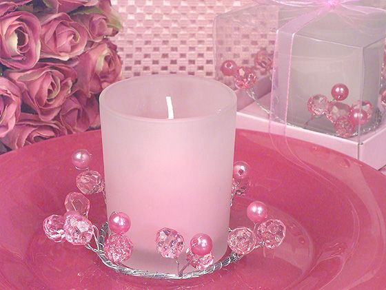 pink beaded candle holder