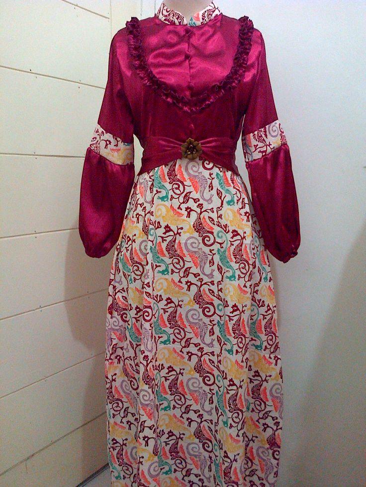 Dress batik kombinasi satin