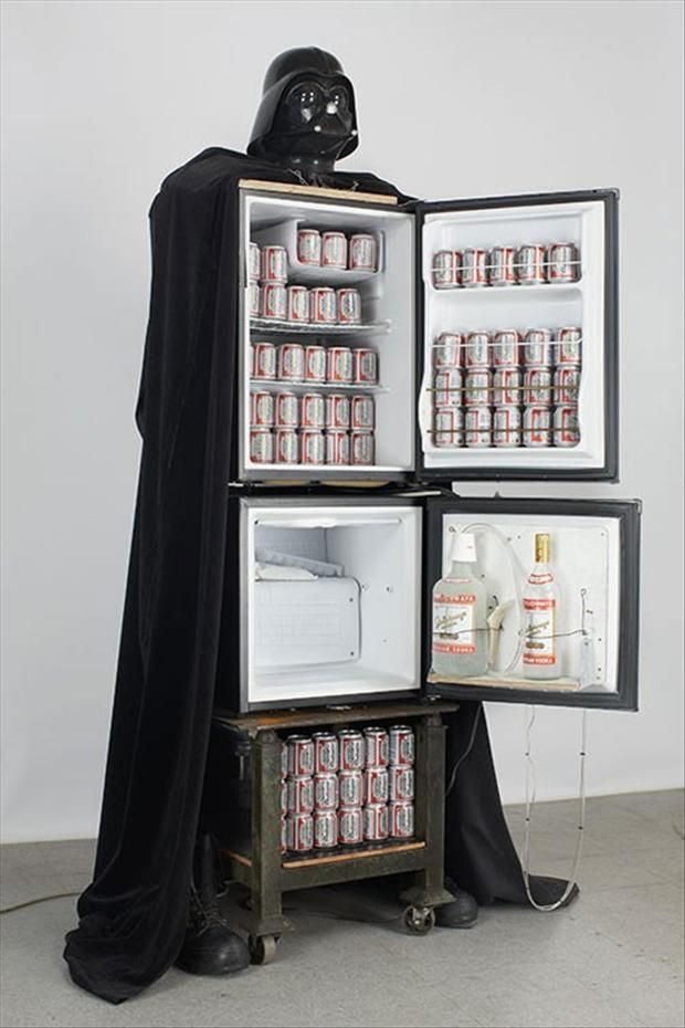 Darth Vader refrigerator. I need this...for reasons. For the man cave!!! For get man cave. I need it just in my house