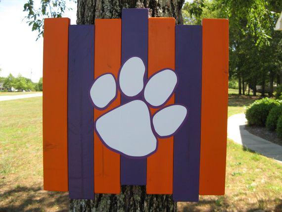 Clemson Tiger paw reclaimed wood sign, Clemson Tigers porch sign, Clemson reclaimed wood wall art, Clemson man cave sign