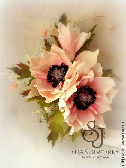 """ЦВЕТЫ ИЗ ФОАМИРАНА. брошь-заколка роза """"Анемоны"""" - кремовый,анемоны,анемон"""