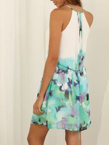 White Spaghetti Strap Floral Print Color Block Dress -SheIn(Sheinside)
