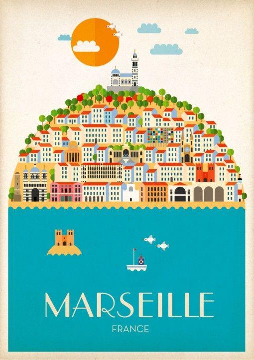 Marseille A1 poster V.2. Pierre Piech Illustration.