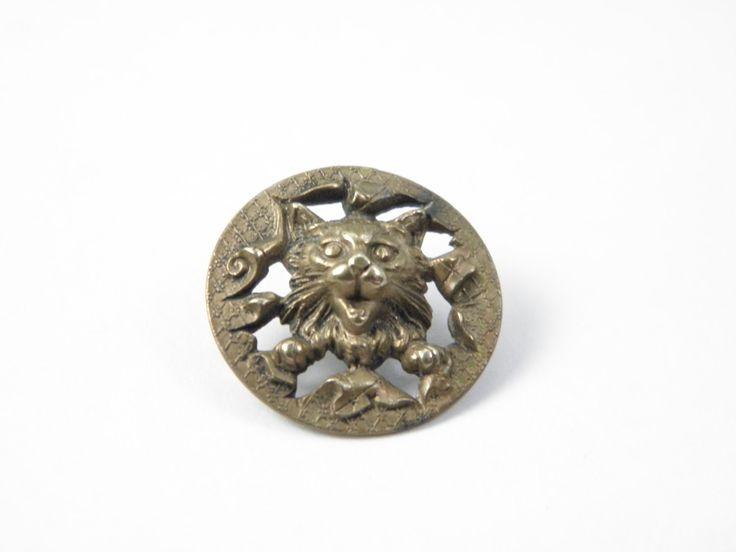 Античная латунь Кнопка Cat викторианской по TressieVioletVintage на Etsy