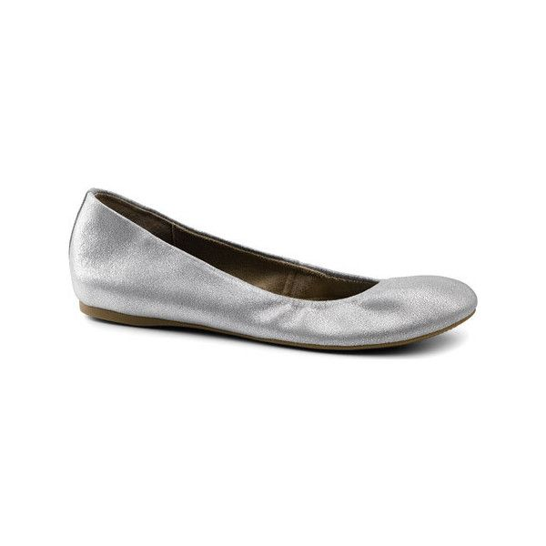 Women's G.H. Bass & Co. Felicity Ballerina Flat - Silver Leather... ($70) ❤ liked on Polyvore featuring shoes, flats, ballet flats, casual, silver, ballet flat shoes, silver flat shoes, silver ballet shoes and ballet pumps