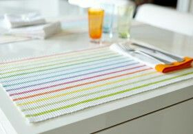 $6 each (Minimum order quantity: 4). Cotton popsicle striped woven placemats.