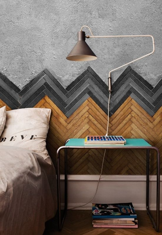 Original idea: hacer un cabecero con tiras de madera en la pared -wooden chevron on the wall