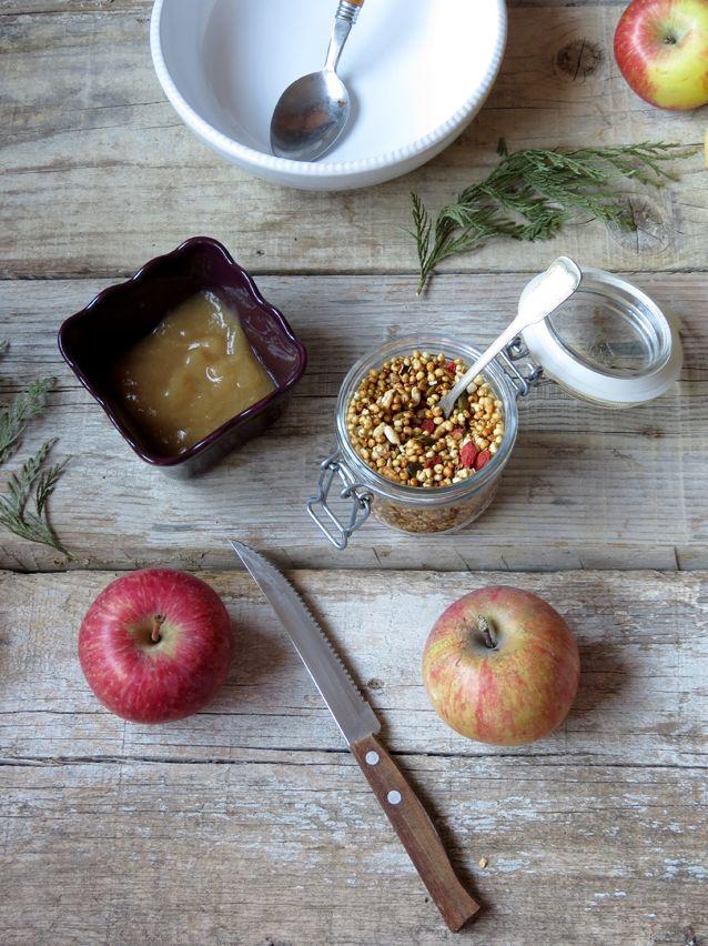 papas de aveia e chia com puré de maçã