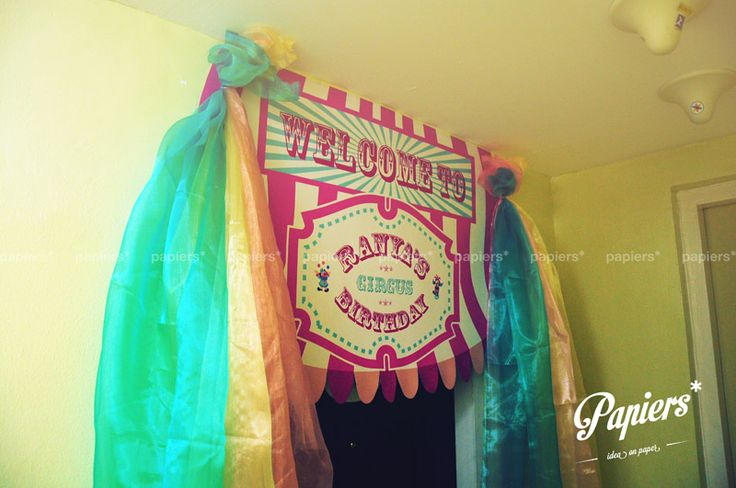 Welcome to Ranya's Circus Birthday!  Welcome banner by Papiers  #circus #birthday #party #welcome #banner #papiers