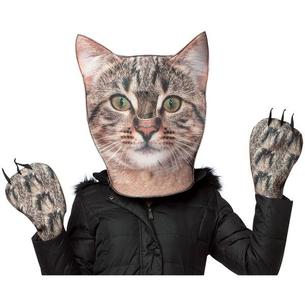 Cat Head & Paws Costume For Adults ($25) ❤ liked on Polyvore featuring costumes, cats, halloween costumes, adult cat halloween costume, cat halloween costumes, cat costumes, adult cat costume and party halloween costumes