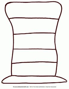 """Dr. Seuss's """"The Cat in the Hat"""" striped hat pattern. Good idea to take the little hats, write sight words on them and hide around room for kids to find"""