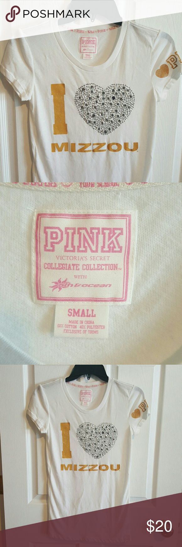 VS PINK *I Love Mizzou* Bling Shirt This shirt is from Victoria Secret Collegiate Collection.  Size Small. PINK Victoria's Secret Tops Tees - Short Sleeve