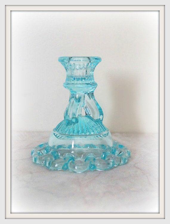 Light blue glass candlestick holder ~ light teal glass ~ teal candle holder ~ centerpiece candle holder ~ Midcentury candle holder art glass