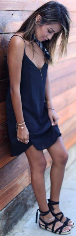 Julie Sarinana + little neck scarf trend + cute alternative + necklace or choker + sleek chifon dress + navy sandals + scarf + feminine and stylish  Dress: Sincerely Jules, Bandana: Urban Outfitters, Sandals: Miu Miu.... | Style Inspiration