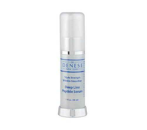 Dr. Denese Triple Strength Deep Line Peptide Serum, 1oz by Dr. Denese. $17.92. Every day after cleansing, apply Triple Strength Deep Line Peptide Serum. A concentrated triple strength peptide day serum that delivers a complex that helps reduce the appearance of deep, defined lines and wrinkles caused by facial expressions; helps firm and tighten the skin; and helps deliver an overall more youthful appearance. The serum works in synergy with Dr. Denese's SPF 30 Day Defense Cream i...