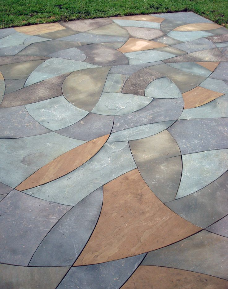 Blue Spiral patio, gorgeous work by Hammerhead Stoneworks.
