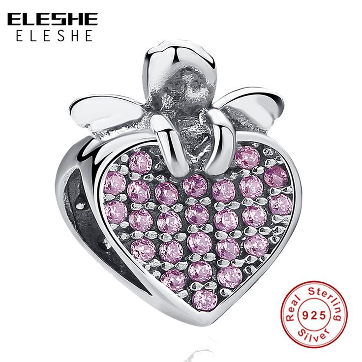 ELESHE 2017 Summer DIY Silver Beads Fit Original Pandora Charms Bracelet 925 Sterling Silver Cherry Heart Charms Beads with CZ #Affiliate