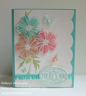 I love cards that use vellum! - Stamp on paper - color, then overlay with powder embossed vellum