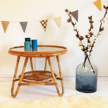 Sybille, La Table Basse En Rotin Vintage