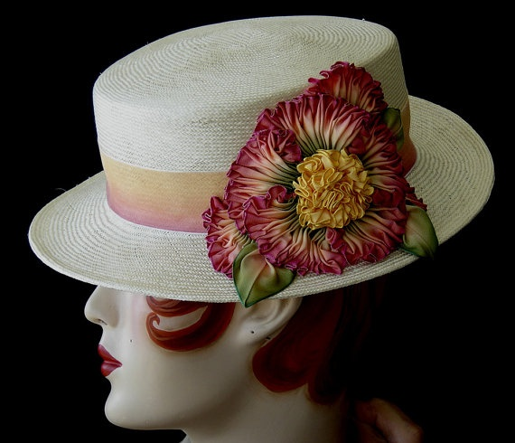 Straw Boater With Ribbon Flower by ohmama on Etsy, $165.00