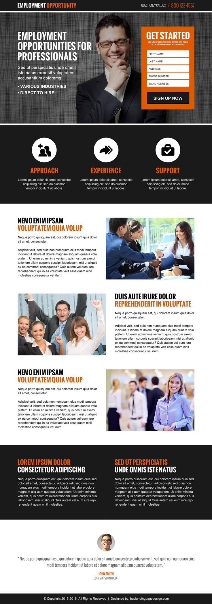 employment opportunity lead gen responsive landing page design template