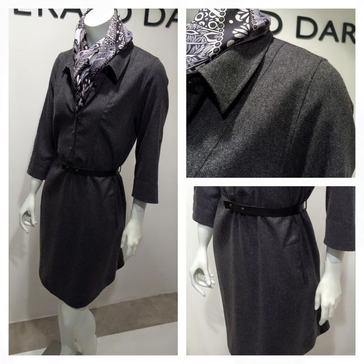 Black always looks better with a good charcoal grey | Charcoal pinafore dress in 100% wool.  Price on request.