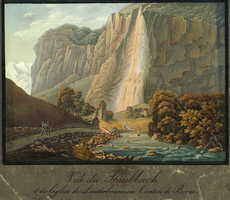 Vue de Staubbach et de l'église de Lauterbrunnen, Canton de Berne - Aquatinte 1820 par JP Lamy - MAS Estampes Anciennes - MAS Antique Prints