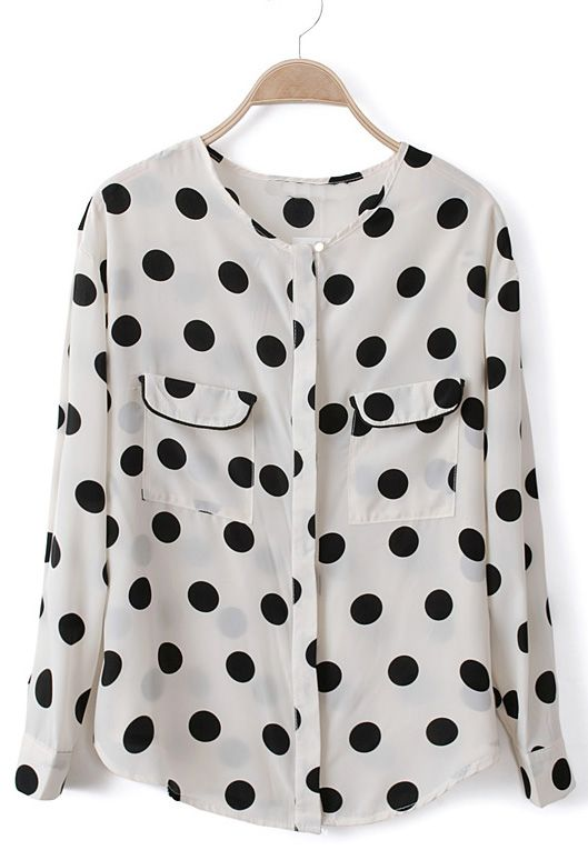 Polka Dot Chiffon Blouse - Wearing a top just like this one today!
